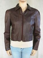Fidelity Leathers Women's Bomber Jacket Brown Leather Lined Zip Up Sz 15/16 EUC