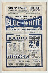 Manchester City V Stoke City Rare Division One Programme 1935/36