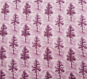 Native Pine BTY James Kalvestran Quilting Treasures Plum Purple Trees Blender