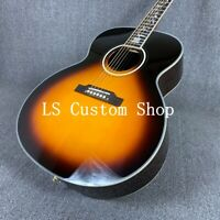 Handmade 38''Top Quality Solid Top Acoustic Guitar Flower Abalone Inlay Sunburst