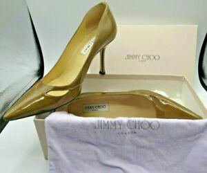 JIMMY CHOO 'Vernice Shine - Kaky' Leather Stiletto Heels Size 39 1/2 (DN127F)