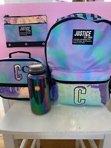 Justice Dye Effects Star Backpack C & Lunchbox & Pencil Pouch NWT + free H2O