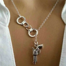 Stylish 1Pcs Handcuff and Gun Lariat Necklace Pendant Necklace HK