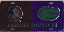 FLORIDA STATE / FLORIDA GATORS  HOUSE DIVIDED ACRYLIC LICENSE PLATE NEW SEALED