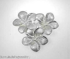 20mm Hawaiian 14k White Gold Diamond-Cut Matted 3 Plumeria Flower Slide Pendant