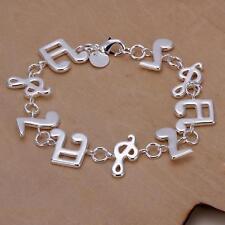 women 925 silver Music Note Solid women lady Bracelet bangle Jewelry H242