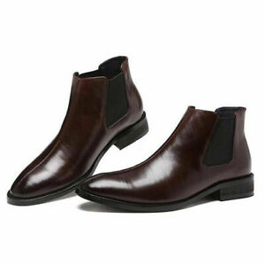 Men Fashion Boots Winter Warm Chelsea Outdoor Casual Ankle Boots Formal Business