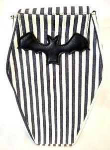 Vampire Bat Coffin Handbag Purse Gothic Horror Striped Horror Crossbody Backpack