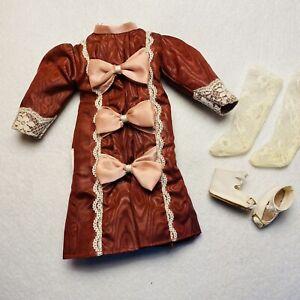 "VTG Doll Dress Clothes Dark Pink Bows on Front Socks Shoes For 15"" Dolls"