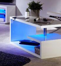 Polar Modern White High Gloss Blue LED Coffee Table