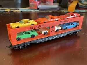 TYCO HO Scale Trailer Train Auto Loader SL-SF 2530 with 6 Cars