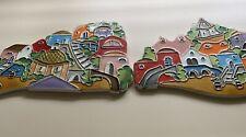 2 Ceramic Scenery Tiles Amalfi Coast Hand Painted