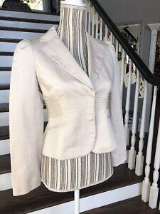 Ann Taylor Petites Women's Ivory Cream Cropped Blazer Sz 2P Linen Cotton Jacket