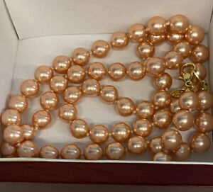 "JOAN RIVERS GOLD EP HAND KNOTTED 10mm PINK CZECH PEARL 30"" NECKLACE-JR GIFT BAG"