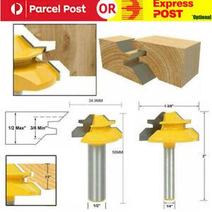 45 Degree Lock Miter Router Bit Woodwork Tenon Cutter Tool 1/4'' 1/2'' Shank