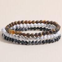 Charm Men 6mm Natural Stone Tiger Eye Healing Beads Bracelet Women Yoga Jewelry