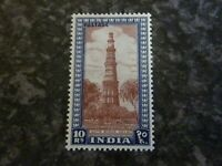 INDIA POSTAGE STAMP SG323 10R PURPLE BROWN & DEEP BLUE 1949 LIGHTLY MOUNTED MINT