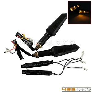 Universal Motorcycle Sequential led Turn Signal Blinker Indicator Lights Amber