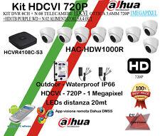KIT videosorveglianza HDCVI Dahua 8CH+n.08 Telecamere dahua HDCVI 720P+HD1TB+ALI