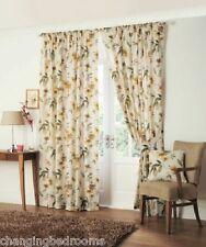 Floral bandeau supérieur Kerena naturels en or lourd Tout-Prêts rideau 90x108 pouces