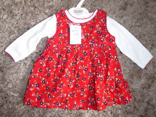 BABY MAC Pretty Baby Girls Red Ditsy FloweCorduroy Dress & Top Outfit 0-3 Months