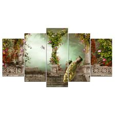 Romantic Peacock Floral Garden 5 Pcs Canvas Wall Poster Print Picture Home Decor