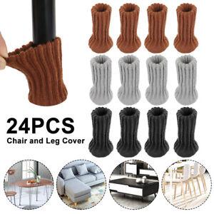 24Pcs Knit Table Chair Leg Socks Sleeve Floor Protector Furniture Feet Covers-AU