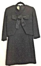 Design By Dayan Tapemeasure Vintage Black Brocade Dress Jacket Bow Couture 60's