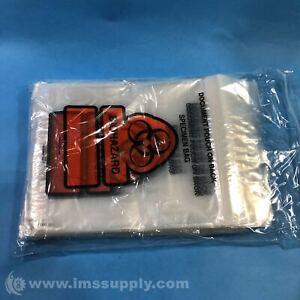 14-86 Bag of 100 Specimen Zipper Bags, Pouch, Biohazard Message FNOB