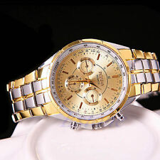 Fashion Men's Luxury Gold Date Stainless Steel Dial Analog Quartz Wrist Watches