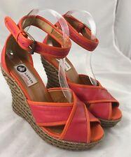 Lanvin Pink Orange Legion Espadrille Sandals Wedges Size 38 $795