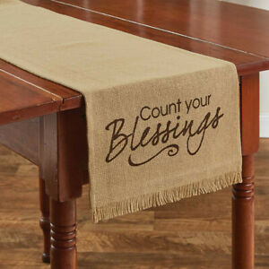 """Stenciled Count Your Blessings Burlap Country Farmhouse Table Runner 13""""x54"""""""