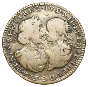 "FRANCE. Louis XIV ""The Sun King"" with Maria Theresa. 1643-1715. Jeton, 1660"