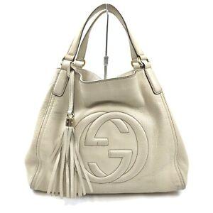 Gucci Hand Bag Soho Whites Leather 841205