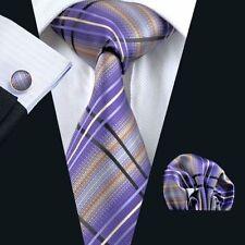6cb8dfcc574b Lila Creme Schwarz Streifen Seide Krawatte Set Einstecktuch Knöpfe Hochzeit  K402