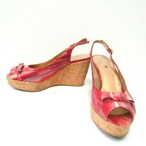 Stuart Weitzman Cork Wedge Platform Slingback Sandals Sz 8 - Red Snake Print