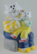 VINTAGE HAPPY DAD, MOTHER OR GRANDFATHER CAT & KITTEN COOKIE JAR POTTERY