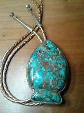 Small Bear Ponca Tribe Bolo Tie( Arrow Head shaped Mosaic Turquoise on Sterling)