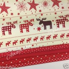 5 FAT QUARTER CHRISTMAS BUNDLE Red/ ivory cute deer & stars 100 % cotton No. 16