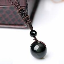 Natural Black Rainbow Eye Obsidian Pendant Necklace in Velvet Pouch/Free P&P/UK