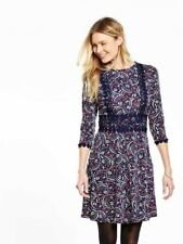 BNWT V by Very Printed Crochet Detail Dress Size 16 Stretch RRP £32
