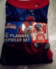 New Boys Ultimate Spiderman 2 pc Flannel Pajamas Sleepwear Set Size 4/5 Red Pant