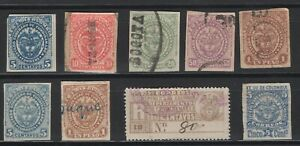 Colombia Cundinamarca 1884-85  issues used/MH, 1904 registration stamp