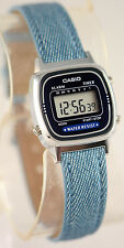 Casio LA670WL-2A2 Ladies Blue Digital Watch Fabric Band Digital Retro New