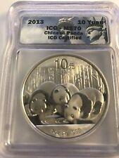 2013 ICG MS 70 10 Yuan Panda 1 OZ Silver Coin
