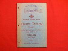 VINTAGE 1951 Infantry Training Manual GRENADES Australian Supplement ORIGINAL