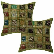 Handmade Cotton Pillow Case Indian Decorative Cotton Patchwork Pillow Cover 16""