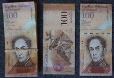 BÜNDEL: 100 x 100 Bolivar VENEZUELA gebraucht, gemischte Jahrgänge 2013-15