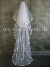 ELEGANT IVORY / OFF WHITE 2 TIER CHAPEL LENGTH WEDDING VEIL SATIN EDGE NEW UK