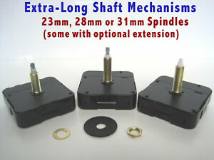 Battery mechanism with EXTRA LONG Spindles Shaft, High-Torque Quartz movements